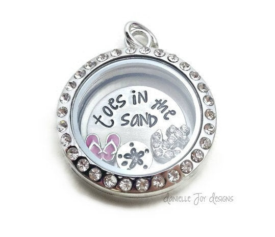 Toes In The Sand Flip Flop Glass Locket