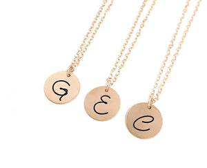 Bridesmaid Initial Necklaces - Rose Gold Filled - Set of THREE