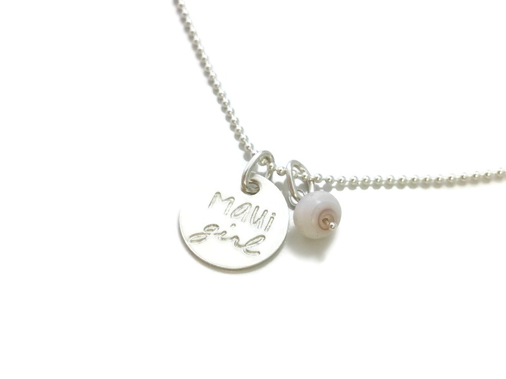 Maui Girl Small Round Puka Shell Sterling Silver Necklace