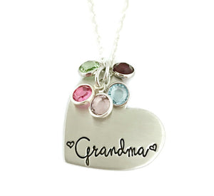 Grandma Birthstone Heart Necklace