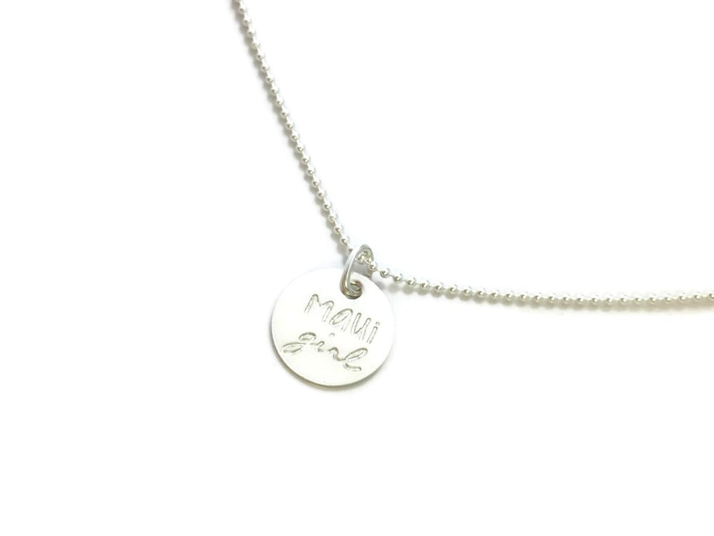 Maui Girl Small Round Sterling Silver Necklace