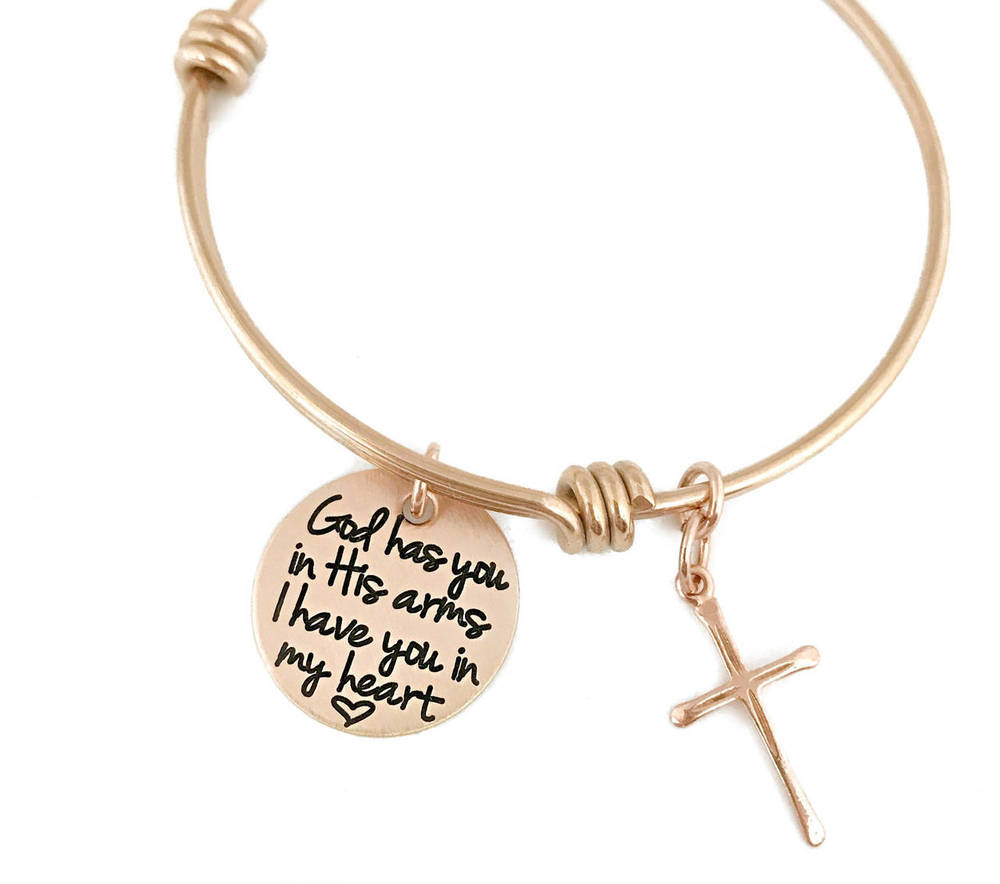 God Has You In His Arms - Rose Gold Cross Adjustable Bracelet
