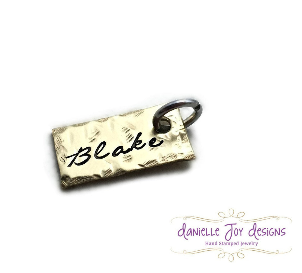 Small Brass Textured Hammered Rectangle Tag - Single Charm