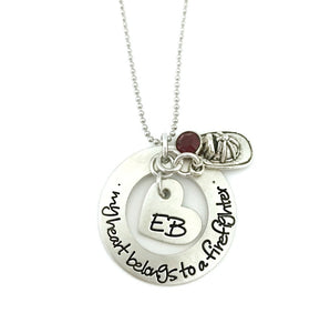 THE ORIGINAL - My Heart Belongs To A Firefighter Necklace