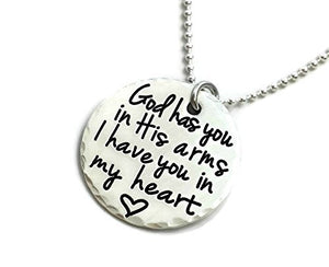 God Has You In His Arms I Have You In My Heart - Sterling Silver Necklace