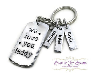 "Personalized Hand Stamped Fathers Day ""We Love You Daddy"" Hammered Keychain"