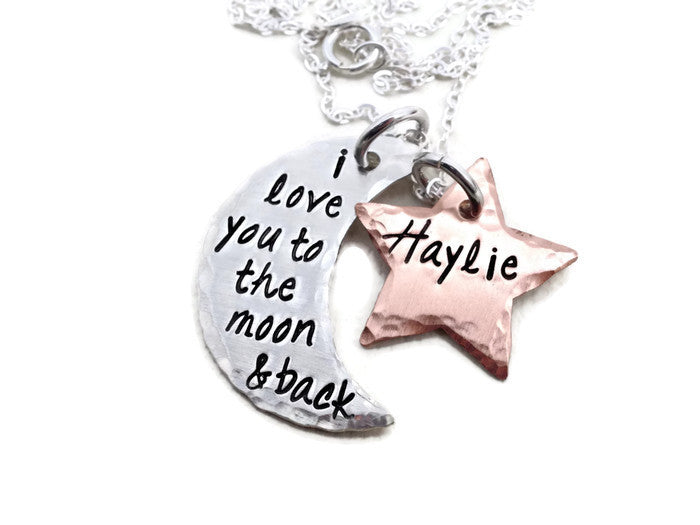 I Love You To The Moon And Back - Personalized Custom Sterling Silver Moon And Copper Star Hand Stamped Necklace