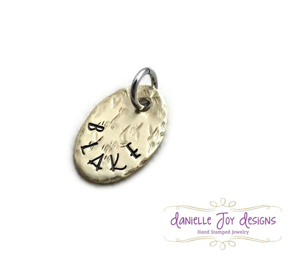 Small Brass Oval Tag - Single Charm