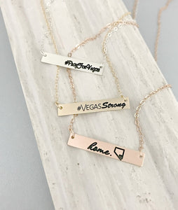 Vegas Strong - Vegas is Home - Pray For Vegas Rose Gold Bar Necklace