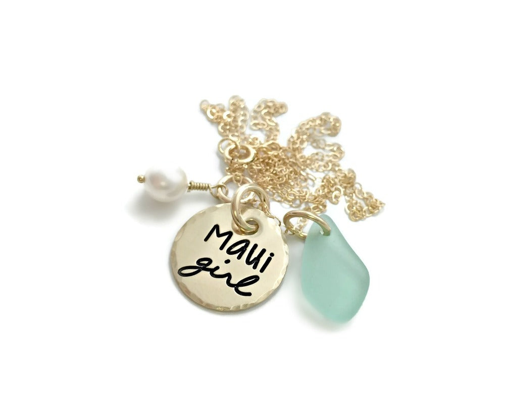 Maui Girl 14k Solid Gold Pearl Sea Glass Necklace