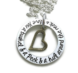 I Love You A Bushel And A Peck And A Hug Around The Neck Necklace - Bronze Slanted Heart
