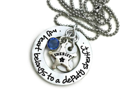 My Heart Belongs To A Sheriff Deputy Firefighter Cop Hero Marine Coastie Soldier Necklace