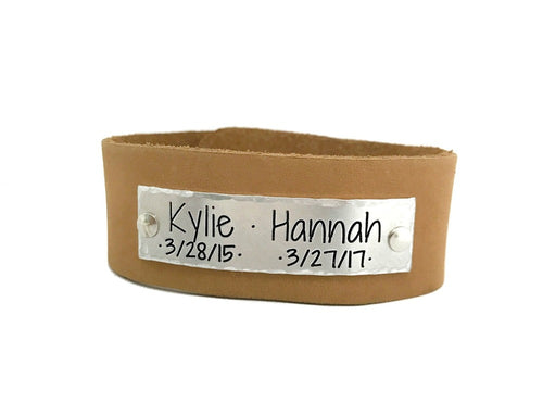 Men's Leather Bracelet with Kids Names