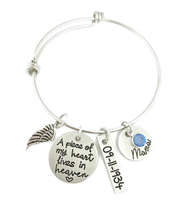 A Piece of My Heart Lives in Heaven Personalized Bangle
