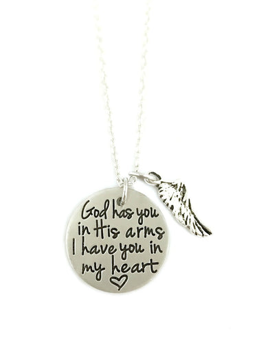 God Has You In His Arms I Have You In My Heart Wing Necklace