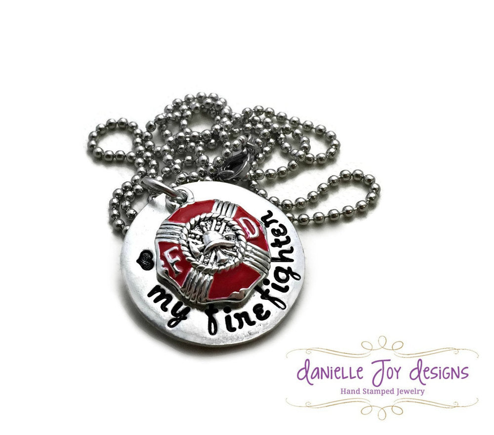 Love My Firefighter State Trooper Cop Hero Marine Coastie Soldier Stamped Personalized Custom Necklace
