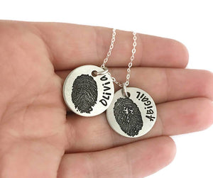 ACTUAL Fingerprint Pendant - Pewter Custom Necklace - Personalized Jewelry - Engraved Jewelry