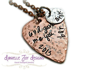 God Gave Me You Textured Copper Guitar Pick Necklace