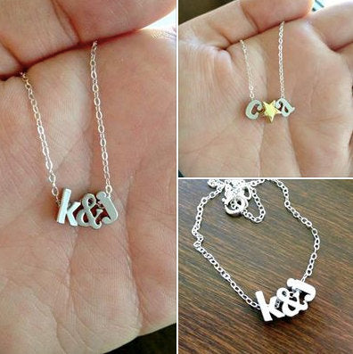 Personalized Tiny Silver Initial Lowercase Necklaces Hearts Stars Ampersand Bridal Wedding Custom Gift