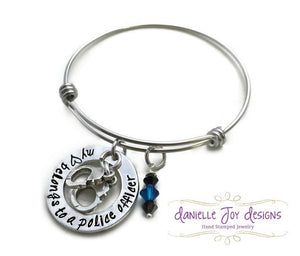 MINI VERSON My Heart Belongs To A Police Officer Firefighter Cop Hero Marine Coastie Soldier Stamped Personalized Bangle