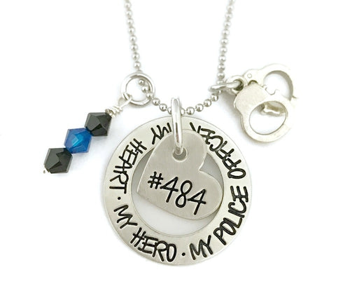 My Heart My Hero My Police Officer - Heart Necklace