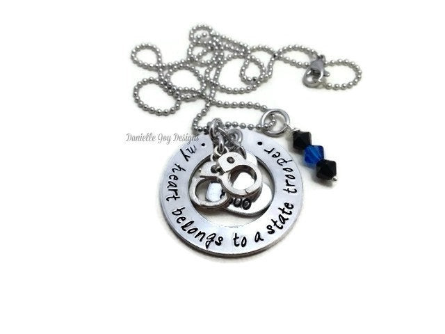 My Heart Belongs To A State Trooper Firefighter Cop Hero Marine Coastie Soldier Stamped Personalized Custom Necklace