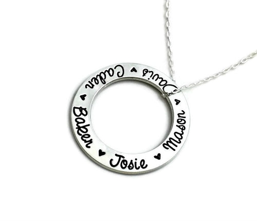 Infinite Ring Necklace - Silver Tone