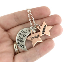 Load image into Gallery viewer, I Love You To The Moon And Back - Moon and Stars Necklace