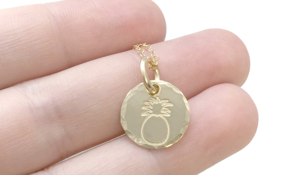 Pineapple 14k Solid Yellow Gold Necklace