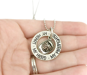 My Heart My Hero My Firefighter Necklace