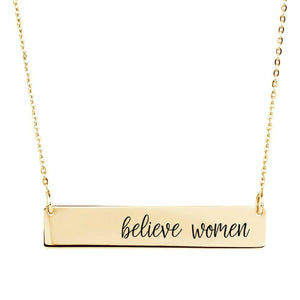 Believe Women Bar Necklace - Sterling Silver, Rose Gold and Gold Filled