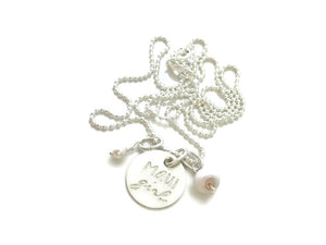 Maui Girl Small Round Puka Shell Pearl Sterling Silver Necklace
