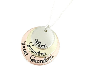 Mom Grandma Great Grandma Mixed Metal Necklace