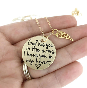 God Has You In His Arms - Gold Wing Necklace