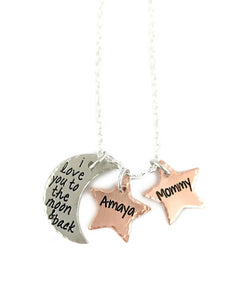 I Love You To The Moon And Back - Moon and Stars Necklace