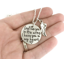 Load image into Gallery viewer, God Has You In His Arms I Have You In My Heart Wing Necklace