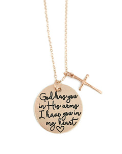 God Has You In His Arms - Rose Gold Cross Necklace