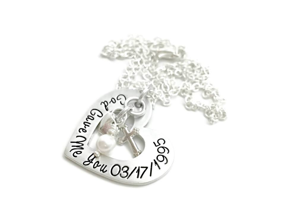 God Gave Me You - Personalized Heart Necklace