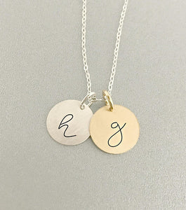Initial Necklace - Rose Gold - Gold - Sterling Silver
