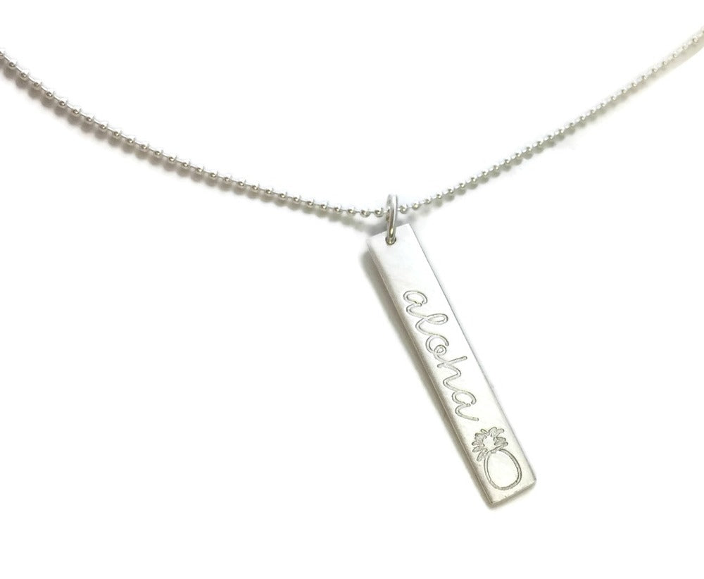 Aloha Pineapple Vertical Bar Sterling Silver Necklace