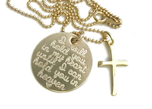 I Will Hold You In My Heart Until I Can Hold You In Heaven Cross - 14k Solid Gold Necklace
