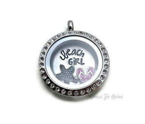 Beach Girl Charms Glass Locket