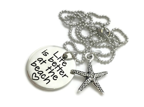 Life Is Better At The Beach Starfish Necklace