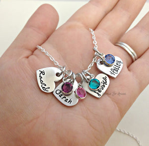 Hand Stamped Heart Name Personalized Custom Birthstone Necklace
