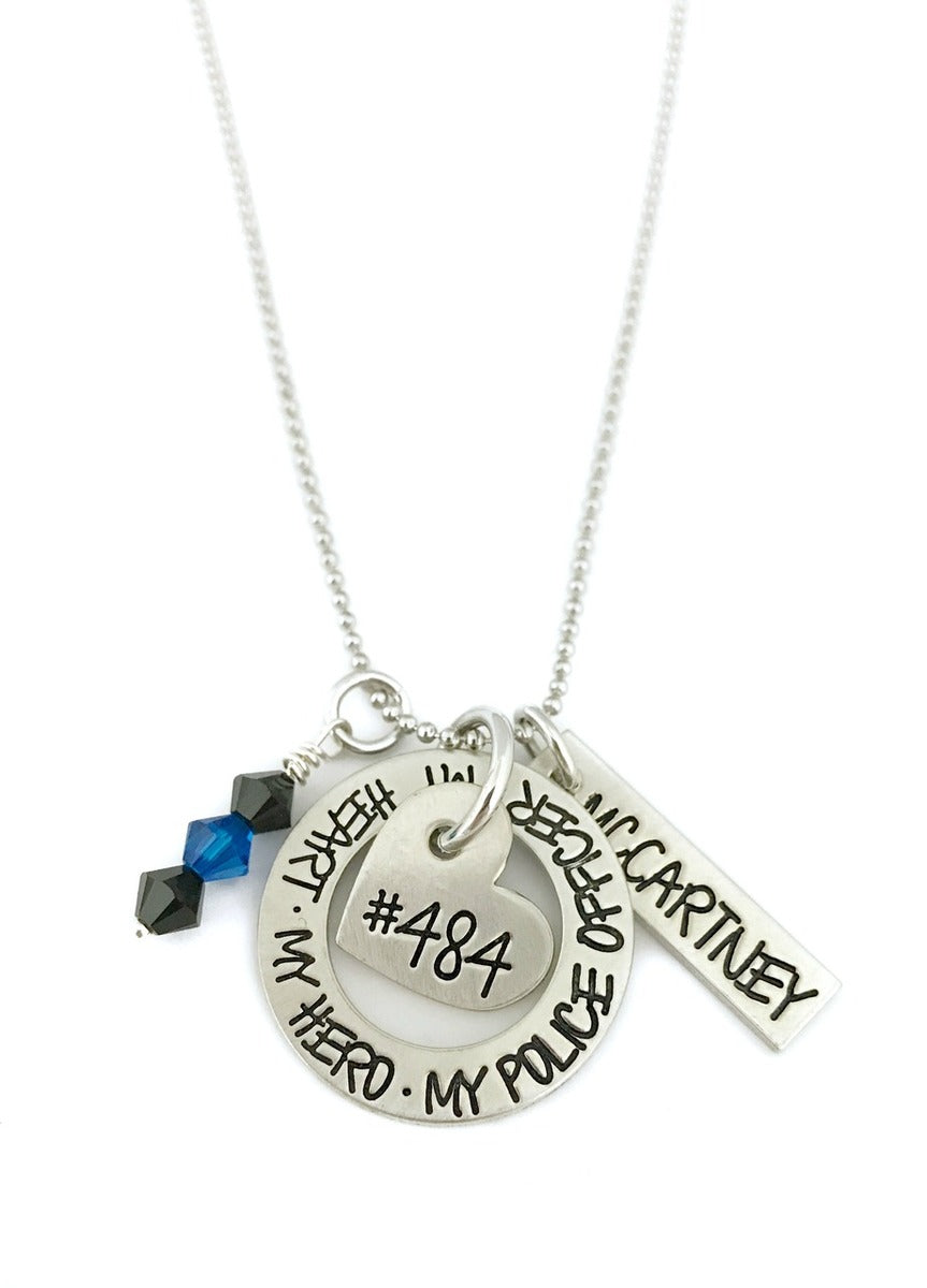 My Heart My Hero My Police Officer Necklace
