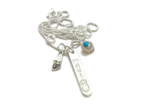 Maui Pineapple Rounded Vertical Short Bar - Flop Flop - Tiny Shell With Turquoise - Sterling Silver Necklace