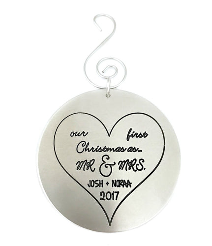 First Christmas as Mr. and Mrs. - Newlyweds Christmas Ornament