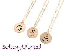 Load image into Gallery viewer, Bridesmaid Initial Necklaces - Rose Gold Filled - Set of THREE
