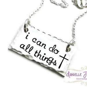 Hand Stamped Sterling Silver - I Can Do All Things - Religious Rectangle Bar Custom Personalized Keepsake Necklace