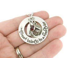 Load image into Gallery viewer, THE ORIGINAL - My Heart Belongs To A Firefighter Necklace